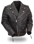 Mens Black Leather Basic Classic Motorcycle Jacket Tall Sizes