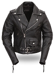 Womens Black Leather Motorcycle Biker Jacket w Half Belt