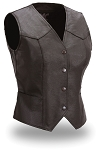 Womens Black Leather Form Fitting Lined Motorcycle Biker Vest