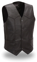 Tall Mens Black Leather Classic 4 Snap Motorcycle Biker Vest