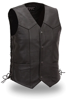 Mens Black Leather Classic Side Lace Motorcycle Vest