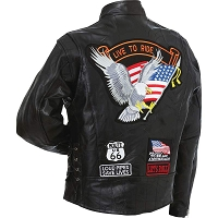 Mens Genuine Buffalo Leather Motorcycle Jacket w Eagle Patch