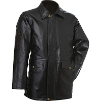 Mens Long Black Patchwork Leather Jacket with Brass Hardware