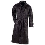 Mens Black Soft Leather Trench Coat