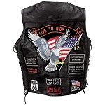 Mens Black Leather Motorcycle Vest 14 Patches, Eagle USA Flag