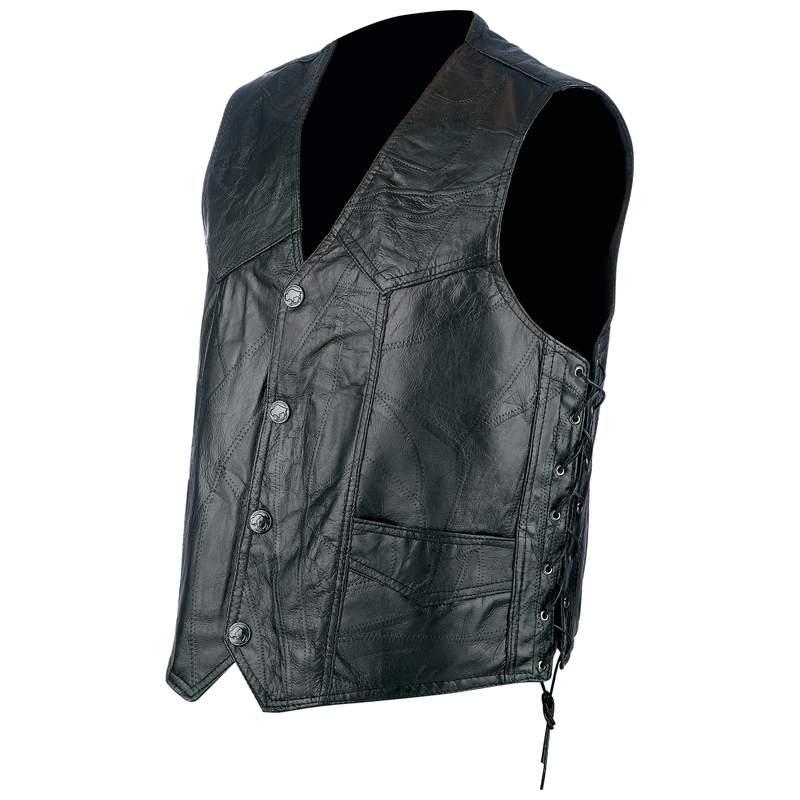Mens Rock Design Genuine Light Weight Hog Leather Biker Vest