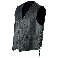 Mens Rock Design Genuine Light Weight Hog Leather Biker Vest