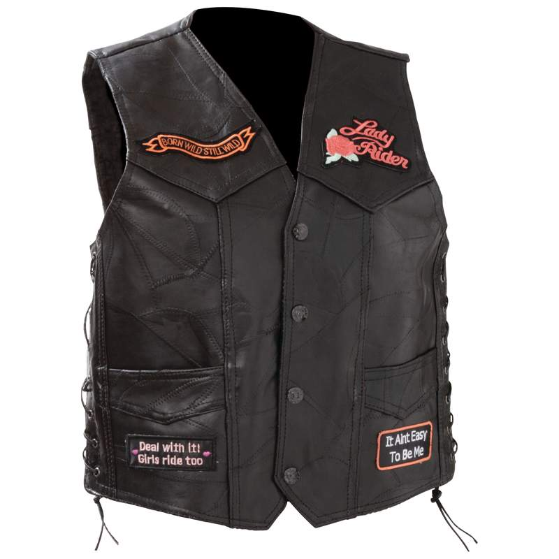 Ladies 39 Womens Black Leather Motorcycle Vest With Heart