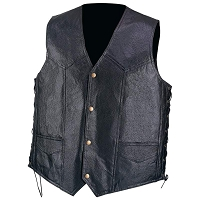 Mens Black Pebble Grain Genuine Leather Vest