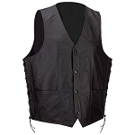 Mens Black Split Cowhide Leather Motorcycle Biker Vest Lined