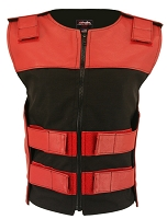 Womens Red / Black Bulletproof Style Leather / Cordura Combo Vest