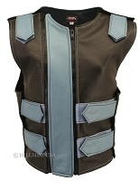 Womens Black / Baby Blue Dbl. Zippered Bulletproof Style Leather Vest
