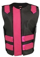 Womens Black / Hot Pink Dbl. Zippered Bulletproof Style Leather Vest