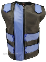 Womens Black / Royal Blue Dbl. Zippered Bulletproof Style Leather Vest