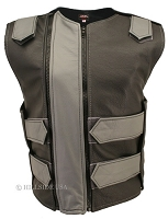 Womens Black / Grey Double Zippered Bulletproof Style Leather Vest