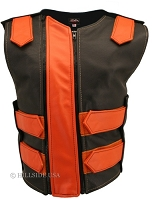 Womens Orange / Black Double Zipper Bulletproof Style Leather Vest