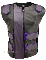 Womens Black / Purple Double Zippered Bulletproof Style Leather Vest