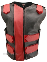 Womens Black / Red Double Zippered Bulletproof Style Leather Vest
