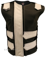 Womens Black / White Double Zippered Bulletproof Style Leather Vest