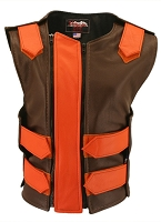 Womens Brown / Orange Double Zippered Bulletproof Style Leather Vest