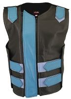 Womens Black / Turquoise Dbl. Zippered Bulletproof Style Leather Vest