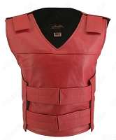 Womens Red Bulletproof Style Leather Vest