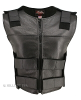 Womens Black Zippered Bulletproof Style Leather Vest