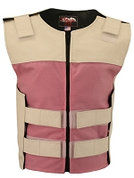 Womens White / Pink Bulletproof Style Leather / Cordura Combo Vest