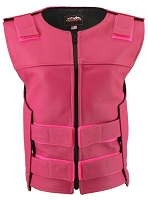 Womens Hot Pink Zippered Bulletproof Style Leather Vest