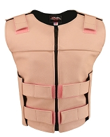 Womens Pink Zippered Bulletproof Style Leather Vest