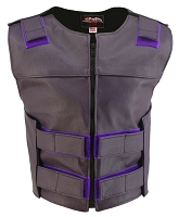 Womens Purple Zippered Bulletproof Style Leather Vest