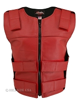 Womens Red Zippered Bulletproof Style Leather Vest