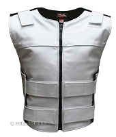 Womens White Zippered Tactical Style Leather Vest