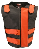 Womens Orange / Black Removable Flap Bulletproof Style Leather Vest
