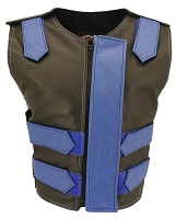 Womens Blue / Black Removable Flap Bulletproof Style Leather Vest