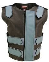 Womens Baby Blue / Black Removable Flap Bulletproof Style Leather Vest