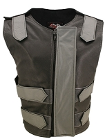 Womens Grey / Black Removable Flap Bulletproof Style Leather Vest