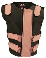 Womens Pink / Black Removable Flap Bulletproof Style Leather Vest
