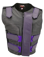Womens Purple / Black Removable Flap Bulletproof Style Leather Vest