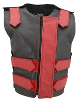 Womens Red / Black Removable Flap Bulletproof Style Leather Vest