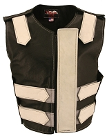 Womens White / Black Removable Flap Bulletproof Style Leather Vest