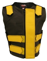 Womens Yellow / Black Removable Flap Bulletproof Style Leather Vest