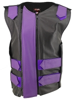 Womens Black / Royal Purple Dbl. Zippered Bulletproof Style Leather Vest