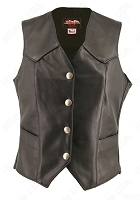 Womens Basic Leather Vest Genuine Mercury Silver Dime Snaps