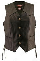 Womens Lace Side Black Leather Vest, Silver Dime Snaps