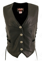 Womens Laced Side Biker Vest / Mercury Silver Dime Snaps