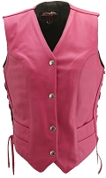 Womens Hot Pink Leather Biker Motorcycle Vest - Side Laces