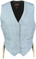 Womens Baby Blue Leather Biker Motorcycle Vest