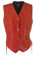 Womens Red Leather Biker Motorcycle Vest - Side Laces