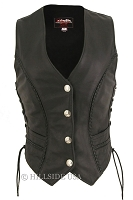 Womens Braided Leather Vest/Genuine Mercury Silver Dime